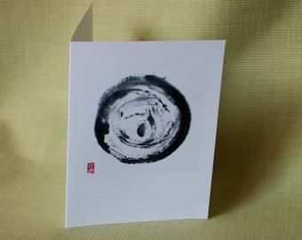 "Card: ""Cosmos"", Japanese ink drawing, sumi-e"