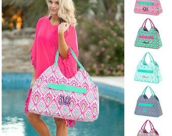 Monogrammed Beach Bag, Large Tote, Pool Bag, Personalized Tote Bag