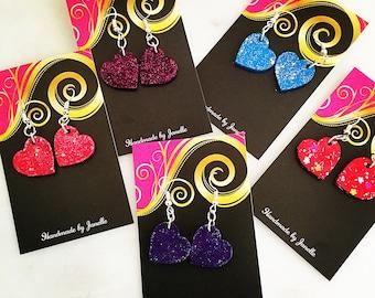 Glitter Hearts Pink, Blue, Purple, Pink/Purple Dangle Earrings Hand Painted - Painted Earrings - Heart Earrings - Glitter Earrings