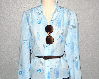 SALE - Vintage powder blue RUFFLED FLORAL print long sleeved blouse - M