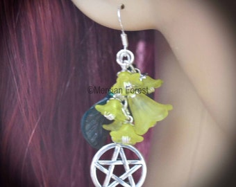 Summer Flowers Pentacle Earrings - Yellow - Pagan Jewellery, Wicca, Solstice