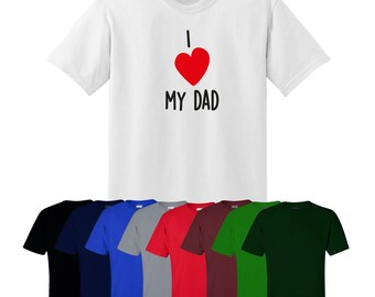 I Love My Dad T-shirt Funny Gift Christmas Fitness Heart Uk Ships Worldwide
