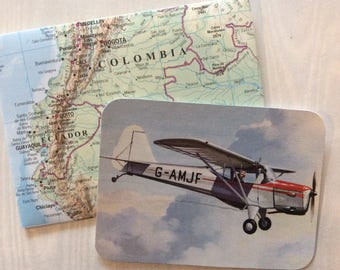 Aircraft cards with atlas envelopes. Aeroplane cards with world map envelopes. Travel wedding cards, travel baby shower cards, airplane.