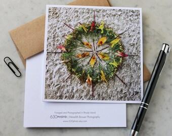 Atumnal Swirl Mandala Note Card with 5x5 square envelope, blank inside