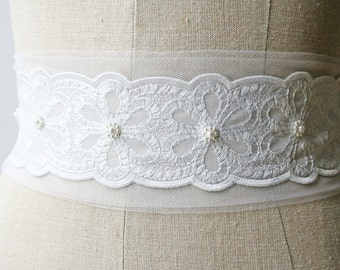 Tulle Lace Sash, Tulle Sash, Beaded Sash, Sample Sale, Bridal Sash