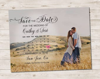 """Wedding Save The Date Magnets - MaggieHill Modern Script Calendar Photo Magnet Personalized 4.25""""x5.5"""""""