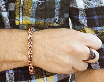copper byzantine chain bracelet