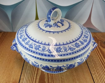 Faience blue Soupiere/Tureen Sarreguemines from series Syra, France
