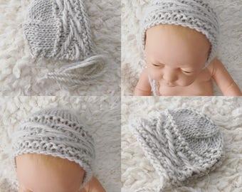 Knitting PATTERN - Newborn Size Knit Strange Bird bonnet - Instant Download PDF - Photography Prop for newborn size knit bonnet