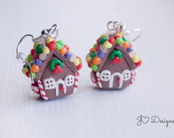 Gingerbread House Earrings, Christmas Earrings, Stocking Stuffer, Gingerbread House Charm, Gingerbread Earrings, Christmas Jewelry, Holiday
