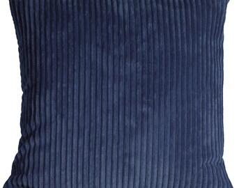 Wide Wale Corduroy 18x18 Dark Blue Throw Pillow