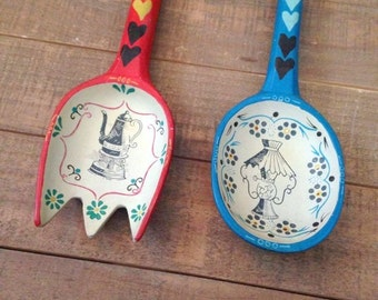 Retro Fork and Spoon Wall Decor, Large Fork and Spoon, Painted Fork and Spoon, Vintage Wall Decor