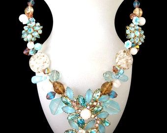 FREE SHIPPING to US. Amazing Aqua Necklace! Spring is in the air with this unique Designer necklace of rare vintage beads and components.