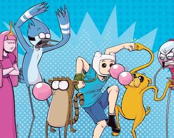 Regular Time! Adventure Time/Regular Show Crossover 11x17 Print