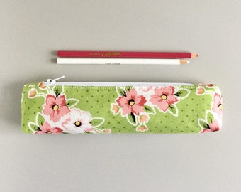 Skinny Pencil Case pink and green floral Pencil Pouch Cute Pencil Case Floral Purse Organizer
