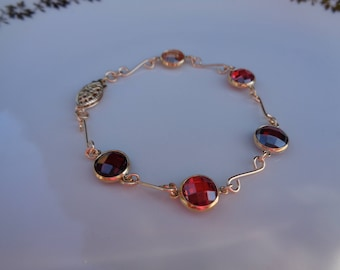 Gold Bracelet, 585 gold filled, with cubic zirconia in fiery red!