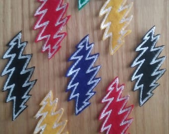 Grateful Dead 13 Point Lightening Bolt Patch, Small Embroidered,  Sew-On