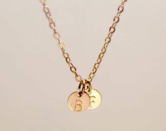 Dainty Gold Disk necklace, Tiny Disk Initial Necklace, Personalized Disk-littledetailstudio (TD)