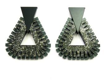 FUZZY MONOCHROME Statment Earrings Black - Glitter Earrings, Art Deco Earrings, Modern Earrings, Plastic Earrings, Big Earrings, OOAK