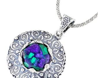 Silver Pendant, Lapis Lazuli pendant, Sterling silver, handmade
