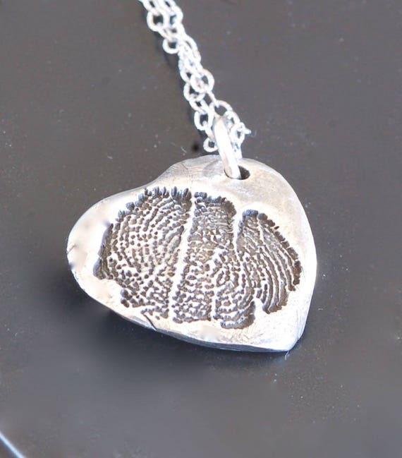 Custom Listing for Keri - Hospice Fingerprint Jewelry - Angel Wing Heart Pendant