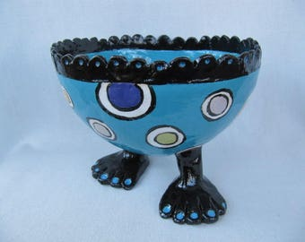 SALE Whimsical hand built pottery turquoise bowl with feet