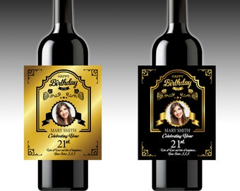 2 X Personalised Wine Bottle Labels | Your Photo & Your Text | Birthday | Christmas | Thank You | Congratulations | Party