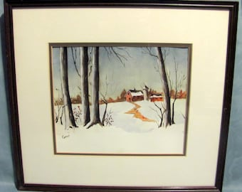 "Watercolor Painting Titled WINTER DAY Signed Gerri Keagy 16.25"" x 18"" Framed"