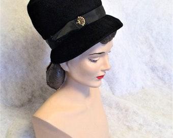 1960s Vintage Black Felt Tall Crowned Hat Unworn with Original Price Tag