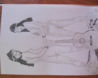"drawing original nude pencil erotic femin ""hippies"" A3 fine art signed G.Vanspey"