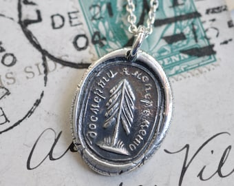 evergreen tree wax seal necklace … I change only in death - a promise - friendship gift - sterling silver Russian motto wax seal jewelry