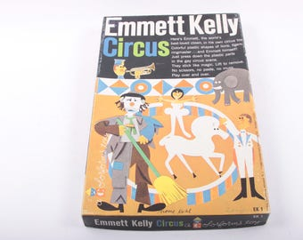 Colorforms, vintage Set, 1970s, Emmett Kelly, Circus, Peel and Stick, Play Set, Vintage, Quiet Time, Activity ~ The Pink Room ~ 170215