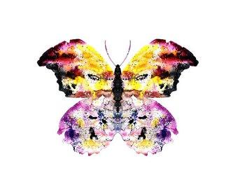 Butterfly ORIGINAL Watercolor Art Print animal yellow purple