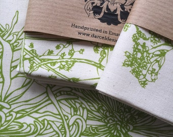 Screen printed tea towel with Victorian Bird design in green