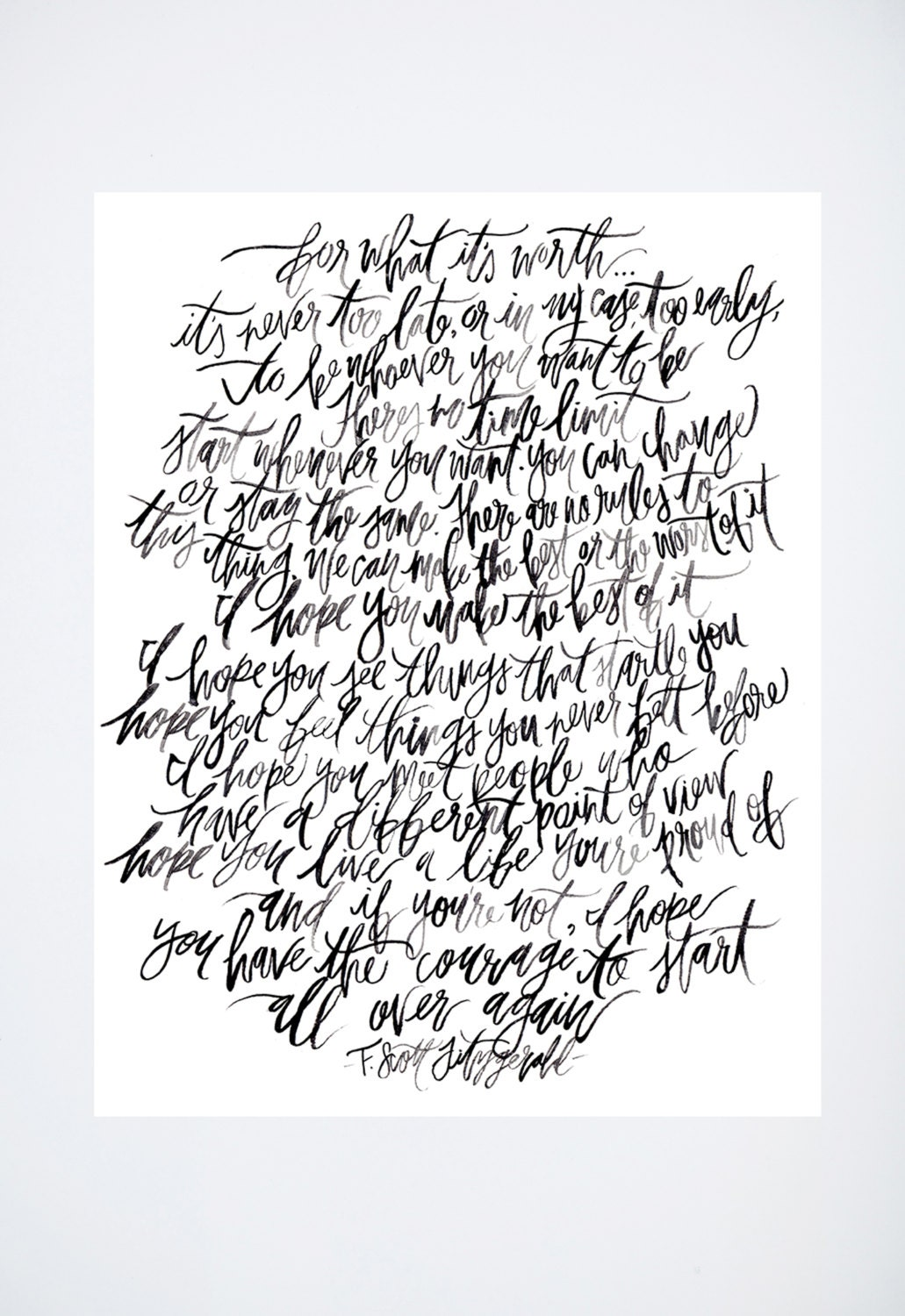 F Scott Fitzgerald Love Quote Calligraphy Inspiration Quotes Fscott Fitzgerald For