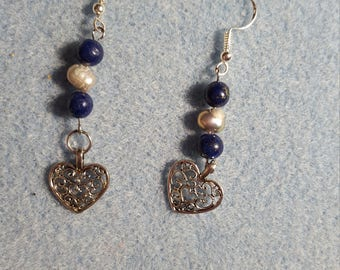 pearl and blue tiger eye heart  earrings Perfect for Valentine's Day gift June Birthstone dangle earrings freshwater pearl