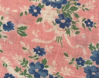 FQ Soft Pink w/ Blue Green Flower Bouquets Ribbons & Bows Novelty Vintage Floral Feedsack Flour Sack Cotton Quilt Fabric