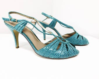Vintage 90s Turquoise Aqua Blue Faux Leather Snakeskin High Heel Shoes Pumps Nine West Cut Out Strappy Slingback 8