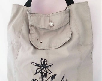Handmade tote bag, Eco friendly bag, unique, up-cycled, recycled, unique, tote shopper, grey floral print shopping bag, vegan friendly,