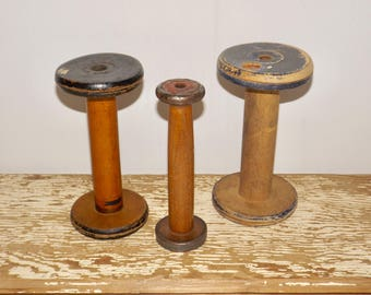 Wood bobbin thread spools,set of 3,metal base trim,Wilson Bros,Liverpool,vintage sewing,decor,sewing room,empty thread spools,distressed