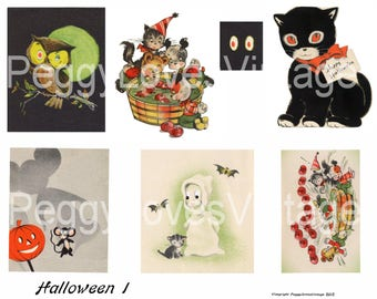 Halloween 1 Digital Collage from Vintage Halloween Greeting Cards  - Instant Download - Cut Outs