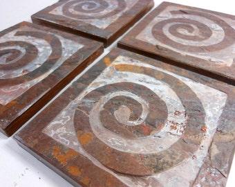 Spiral Coasters, Slate Stone Coasters, Quality Handmade Carved Coasters Set, Natural Drink Coasters, Swirl Modern Primitive Rustic Decor