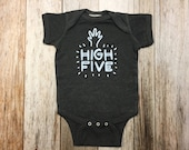 Grey High Five Onesie - Baby Shower Gift