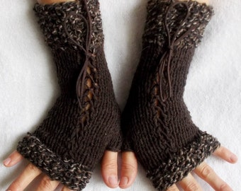Knit  Wrist Warmers Corset Fingerless Glove in Dark Brown  with Suede Ribbons Victorian Style