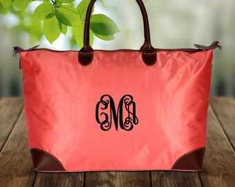 Monogram Large Coral Tote Bag Personalization Included
