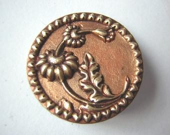 "Beautiful antique button, flowers, foliage, gilt , brass, 1.10"""
