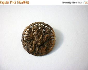 ON SALE Vintage Hand Carved Tropical Bird Among Foliage Wooden Pin 63016