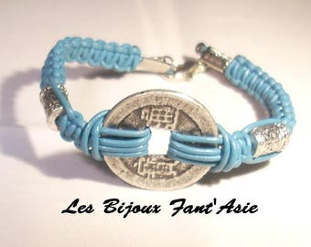 Chinese coin bracelet turquoise leather macrame and metal Tibetan beads