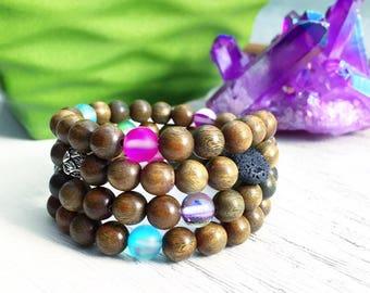 Diffuser Braceket, Aromatherapy, Sandalwood, Aura Quartz, Lava Stone, Fragrant Sandalwood, Mala Beads, Uplift, Essential Oil, Good Vibes