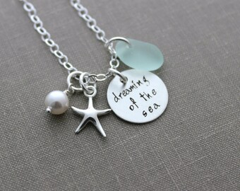 dreaming of the sea, sterling silver genuine sea glass charm necklace, personalized,  starfish charm, hand stamped, beach ocean jewelry